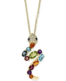 "EFFY® Multi-Gemstone (2 ct. t.w.) & Diamond (1/10 ct. t.w.) Snake 18"" Pendant Necklace in 14k Gold"