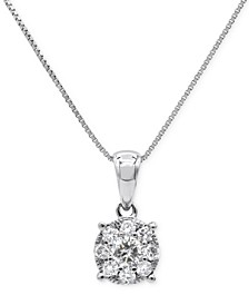 """Diamond Cluster 18"""" Pendant Necklace (1/3 ct. t.w.) in 14k White Gold"""