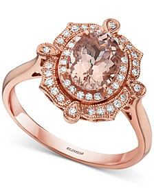 EFFY® Morganite (1 ct. t.w.) & Diamond (1/6 ct. t.w.) Statement Ring in 14k Rose Gold