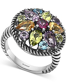 EFFY® Multi-Gemstone Flower Statement Ring (3-1/2 ct. t.w.) in Sterling Silver