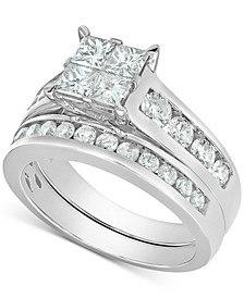 Diamond Quad Cluster Channel-Set Bridal Set (2 ct. t.w.) in 14k White Gold