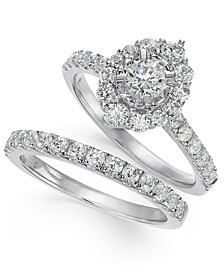 Diamond Halo Bridal Set (1-1/3 ct. t.w.) in 14k White Gold