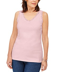 Cotton Scalloped-Lace Tank Top, Created for Macy's