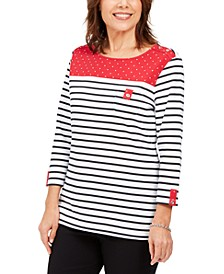 Petite Striped Polka Dot Top, Created For Macy's