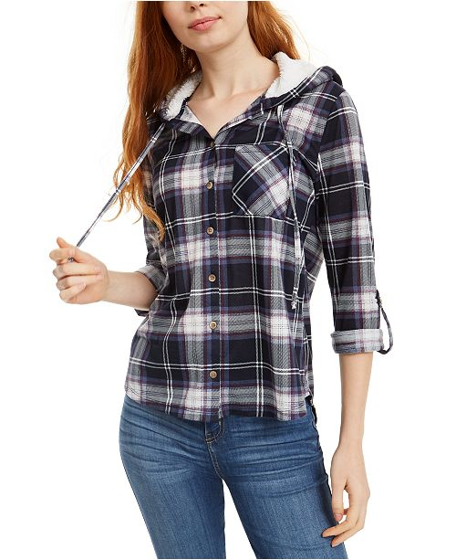Polly & Esther Juniors' Plaid Faux Fur-Trimmed Hoodie