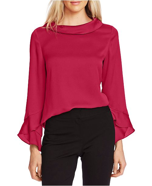 Vince Camuto Collared Flutter-Cuff Top