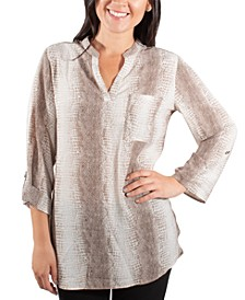 Printed Roll-Tab Tunic