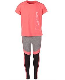 Big Girls Logo T-Shirt & Colorblocked Leggings