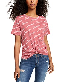 Juniors' Dreamer Knot-Front Graphic T-Shirt