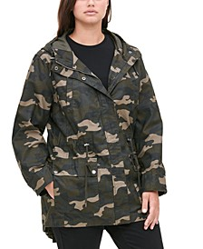 Trendy Plus Size Printed Cotton Parka Jacket