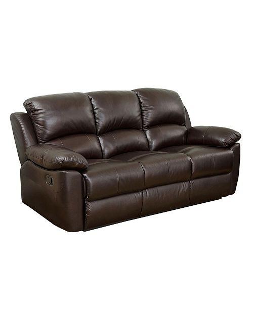 "Furniture Simone 88"" Leather Recliner Sofa"