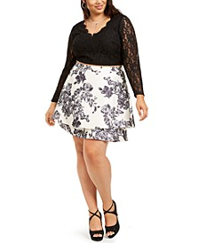 Plus Size 2-Pc. Glitter Lace & Floral-Print Dress