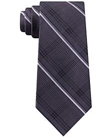Men's Classic Tonal Glen Plaid Stripe Silk Tie