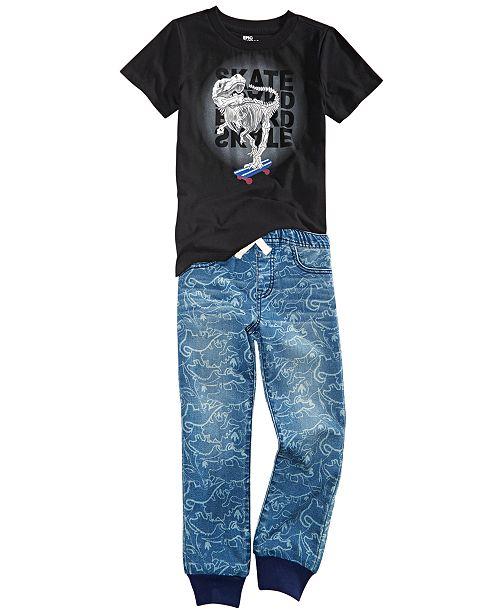 Epic Threads Little Boys Skeleton Skate T-Shirt & Stretch Dino-Print Denim Joggers, Created For Macy's