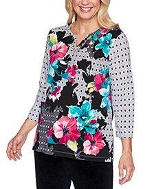 Bright Idea Mixed-Print Studded Top