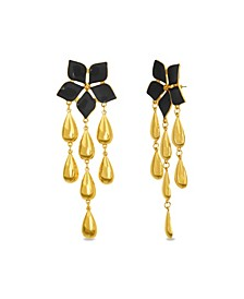 Flower Post Dangle Earring in Yellow Gold-Tone Alloy
