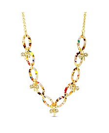 Rhinestone Oval Hoop Necklace in Lucite and Yellow Gold-Tone Alloy