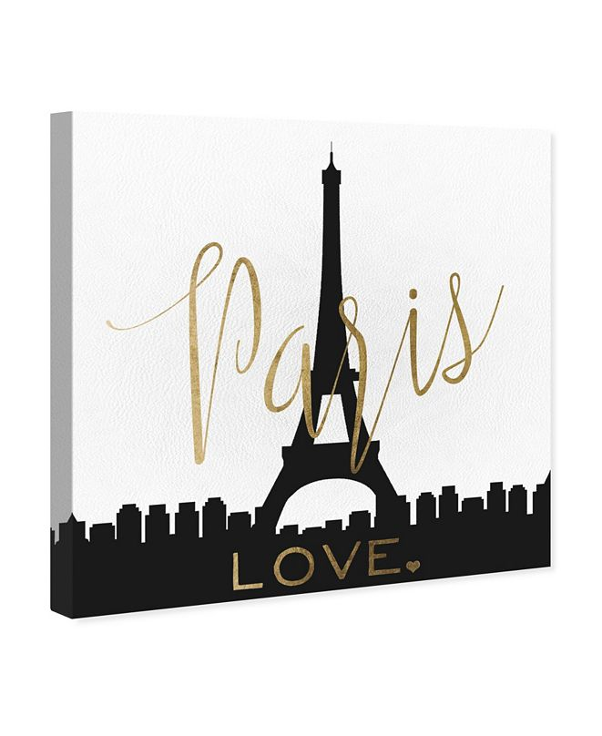 """Oliver Gal Paris Love Gold and Leather Canvas Art, 12"""" x 12"""""""