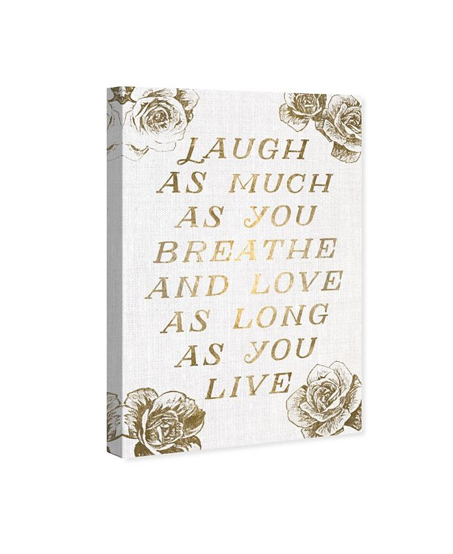 """Oliver Gal Laugh and Live Roses Canvas Art, 16"""" x 24"""""""