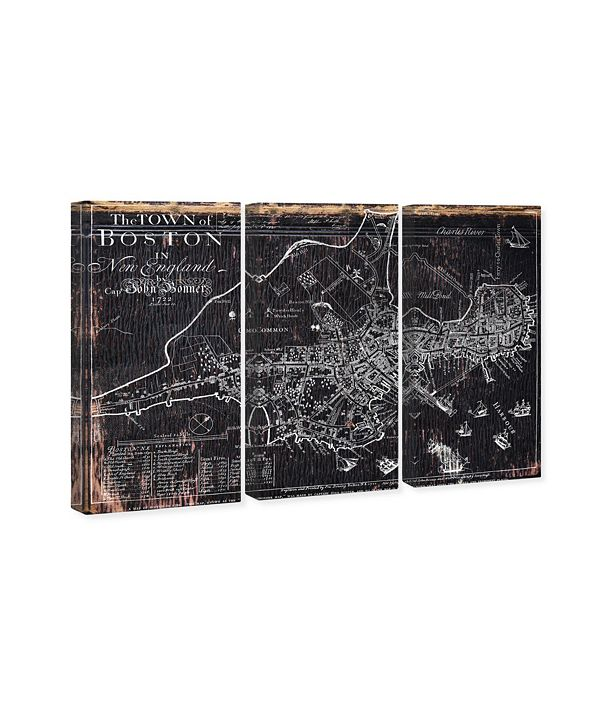 """Oliver Gal Town of Boston Map 1722 Triptych Canvas Art, 17"""" x 36"""""""