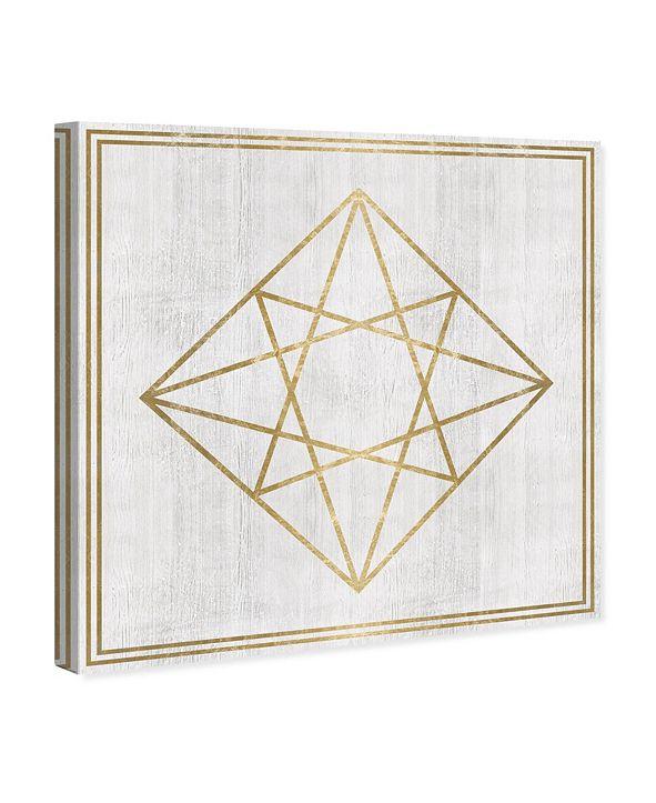 "Oliver Gal Whitewash Wood Geometric Diamond Canvas Art, 16"" x 16"""