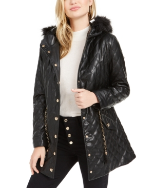 Guess Jackets SAIRA QUILTED FAUX-FUR COLLAR JACKET