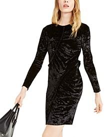 Ruffled Velvet Sheath Dress, Regular & Petite
