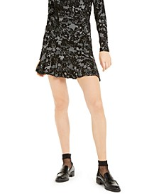 Lace-Print Ruffle-Hem Skirt, Regular & Petite
