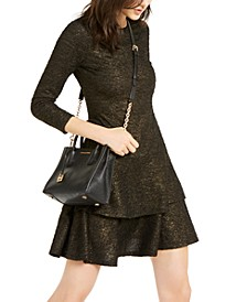 Metallic Ruffled Dress, Regular & Petite