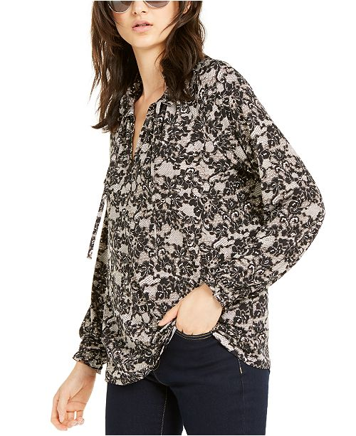 Michael Kors Lace-Print Tie-Neck Top