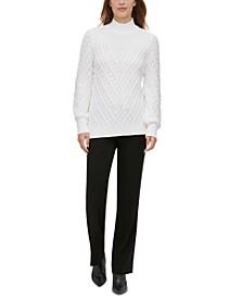 Multi-Textured Mock-Neck Sweater