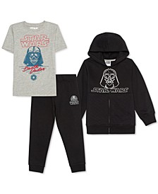 Little Boys 3-Pc. Darth Vader Hoodie, T-Shirt & Joggers Set