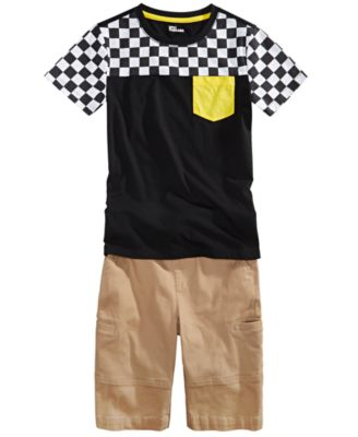Big Boys Checkered-Print Colorblocked T-Shirt, Created For Macy's