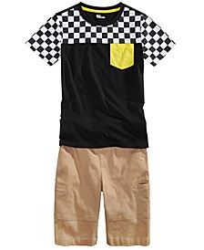 Big Boys Checker Colorblocked T-Shirt & Stretch Twill Cargo Shorts, Created For Macy's