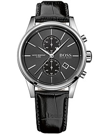 Men's Chronograph Jet Black Leather Strap Watch 41mm