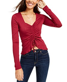 Juniors' Cinched-Front Cropped Top