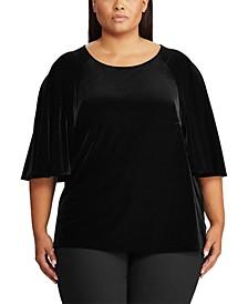 Plus Size Velvet Flutter-Sleeve T-Shirt