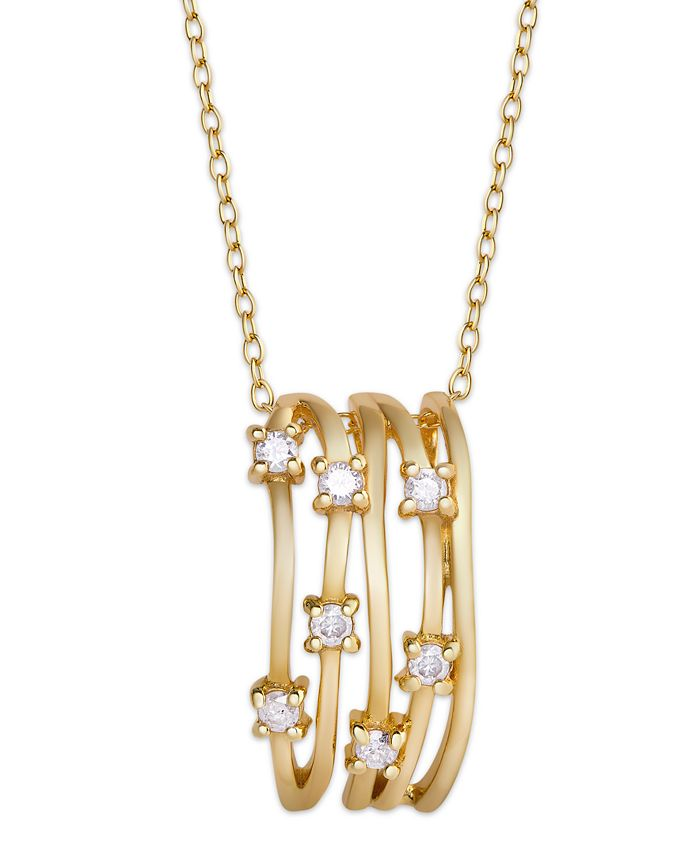 Macy's - Diamond (1/4 ct. t.w.) Multi Row Pendant Necklace in 14K Gold over Sterling Silver