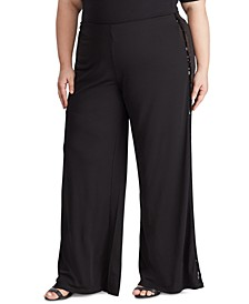 Plus Size Sequined Tuxedo-Stripe Pant