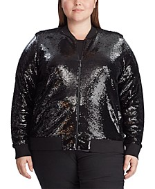 Plus Size Sequined Bomber Jacket