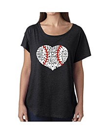 Women's Dolman Cut Word Art Shirt - Baseball Mom