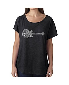 Women's Dolman Cut Word Art Shirt - Blues Legends