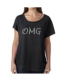 Women's Dolman Cut Word Art Shirt - OMG