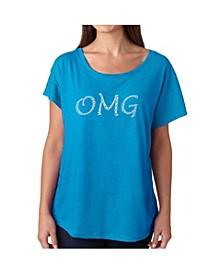 Women's Dolman Cut Word Art Shirt - OMG