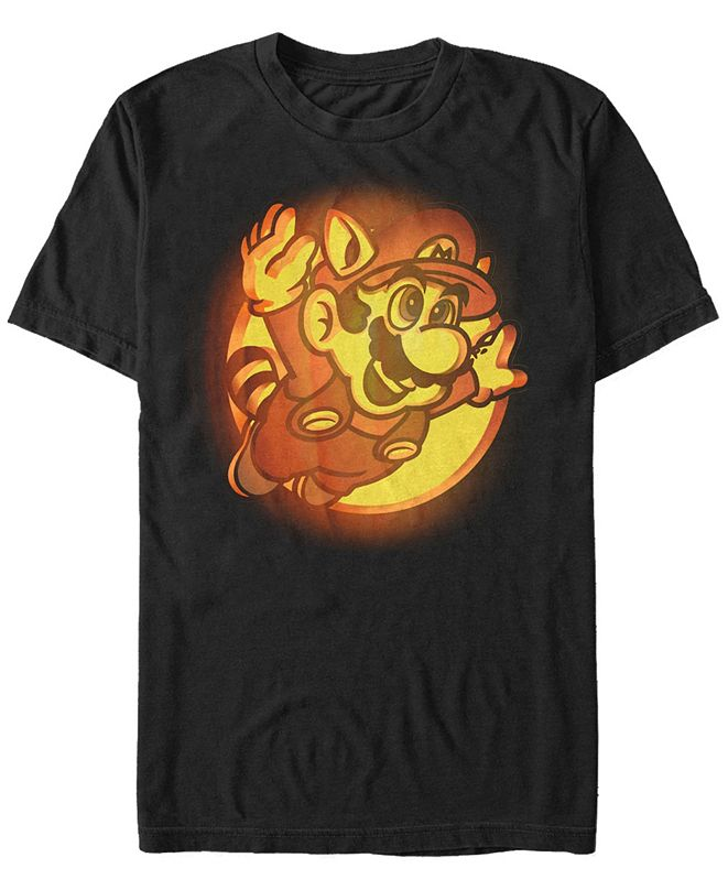 Fifth Sun Nintendo Men's Super Mario Flying Raccoon Carved Pumpkin Short Sleeve T-Shirt