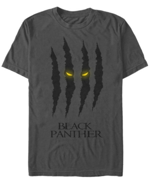 Marvel Men's Black Panther Claw Scratches Glowing Eyes Short Sleeve T-Shirt