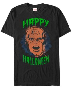 Marvel Men's Captain America Big Face Happy Halloween Short Sleeve T-Shirt