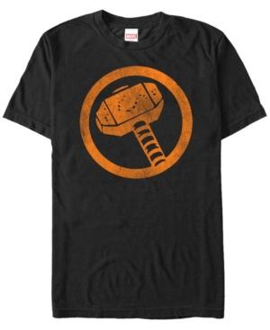 Marvel Men's Thor Distressed Orange Hammer Logo Short Sleeve T-Shirt