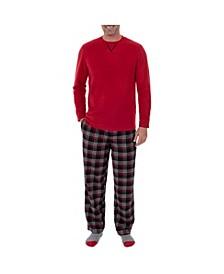 Men's Microfleece Crew Neck Top Flannel Pant Set