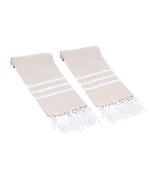 Olive and Linen Essential Trio Stripe Turkish Hand/Kitchen Towel Set of 2